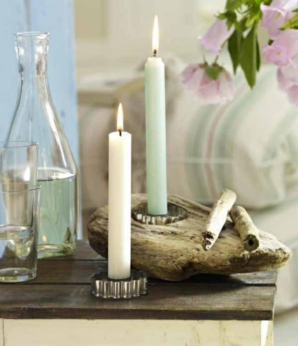 candil bonito madera flotante velas