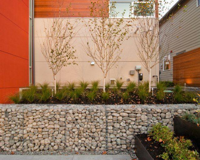 casa patio contraste rocas jardin