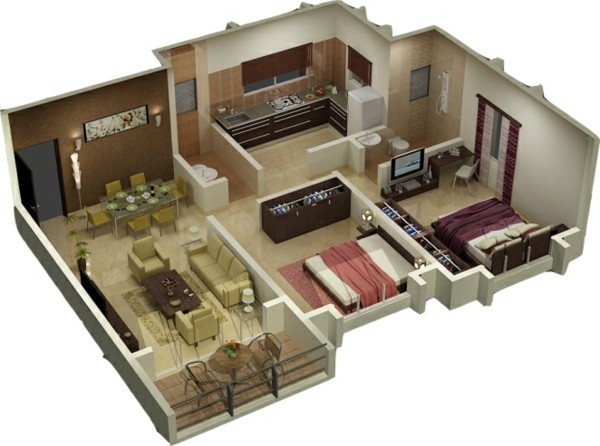 Three Room Naksha Joy Studio Design Gallery Best Design