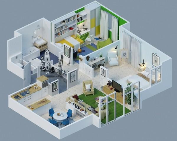Planos de casas y apartamentos en 3 dimensiones for Online home design 3d