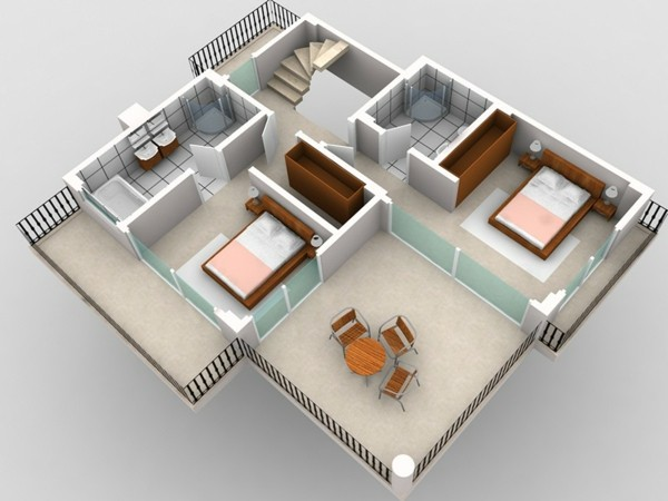 Planos de casas y apartamentos en 3 dimensiones for Diseno de interiores apartamentos pequenos