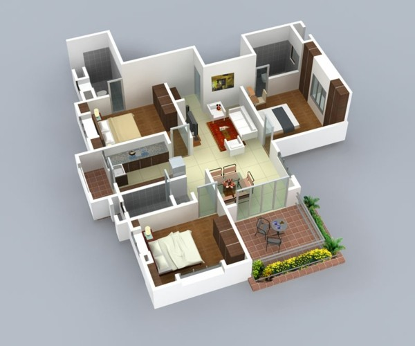 Planos de casas y apartamentos en 3 dimensiones for Best interior designs for 3 bhk flats