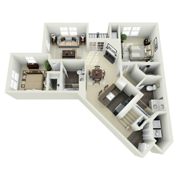 casa esquina plano blanco heptagono