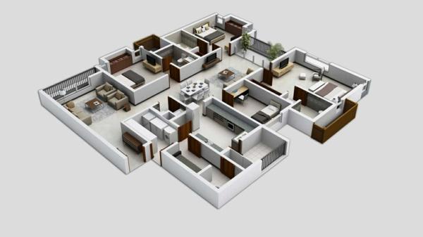 Planos de casas y apartamentos en 3 dimensiones for Planos de pisos grandes
