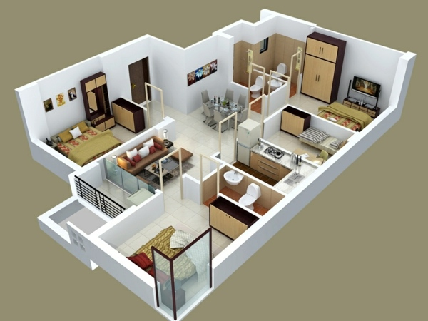 Planos de casas y apartamentos en 3 dimensiones for 4 bedroom house ideas