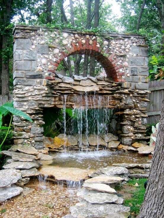 cascadas para jardín pared arco