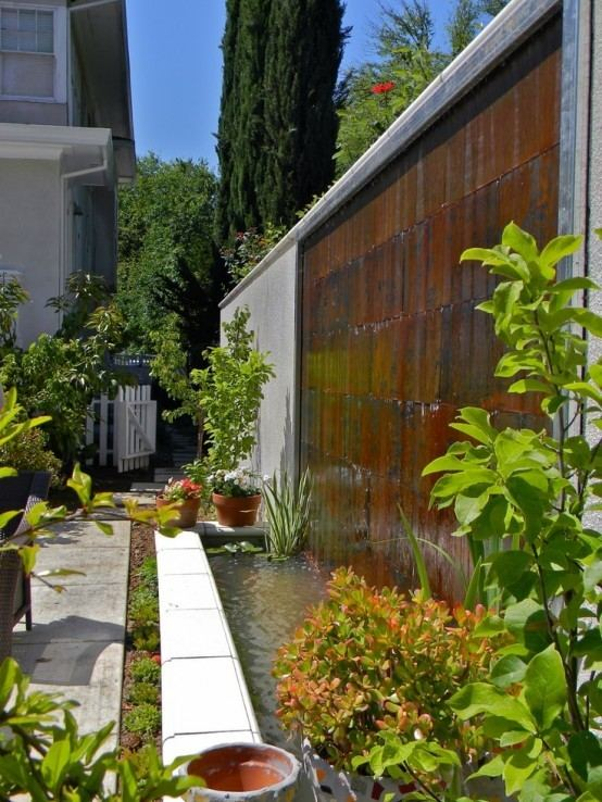 cascada para jardin  muro divisorio  embalse