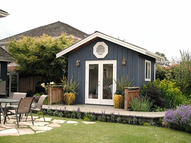 casetas de jardín madera azul blanca