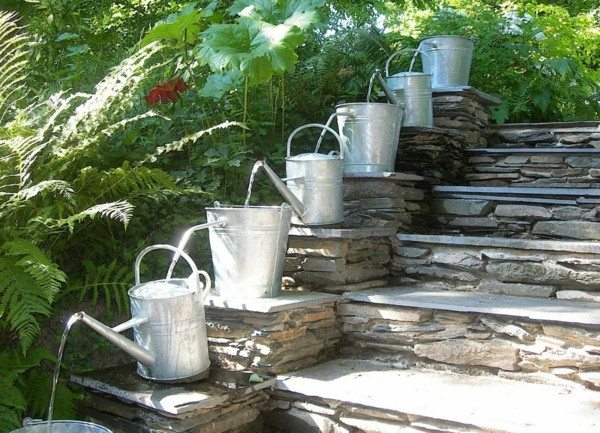catarata regaderas escaleras original plantas