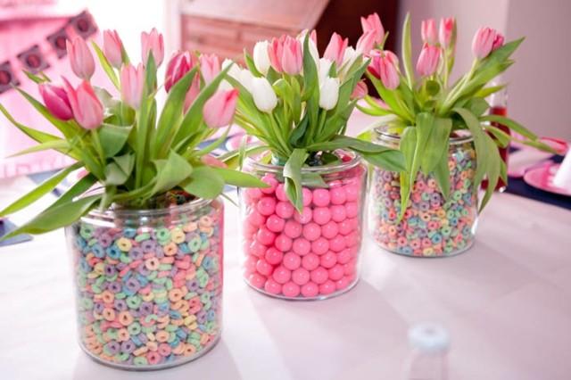 centro arreglo floral caramelos colores