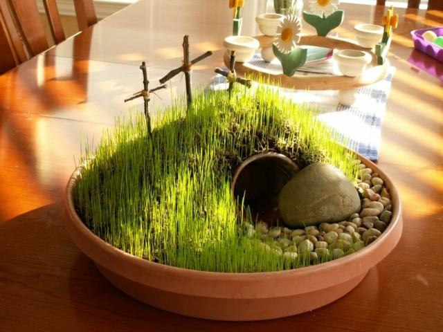 centro mesa cueva cesped resurrección