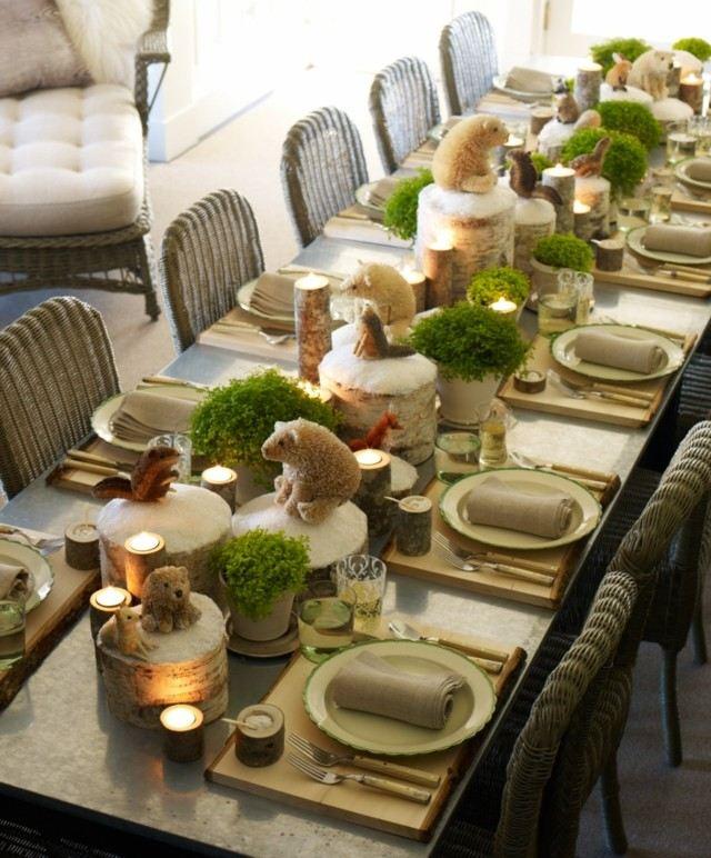 centro mesa divertido animales osos plantas