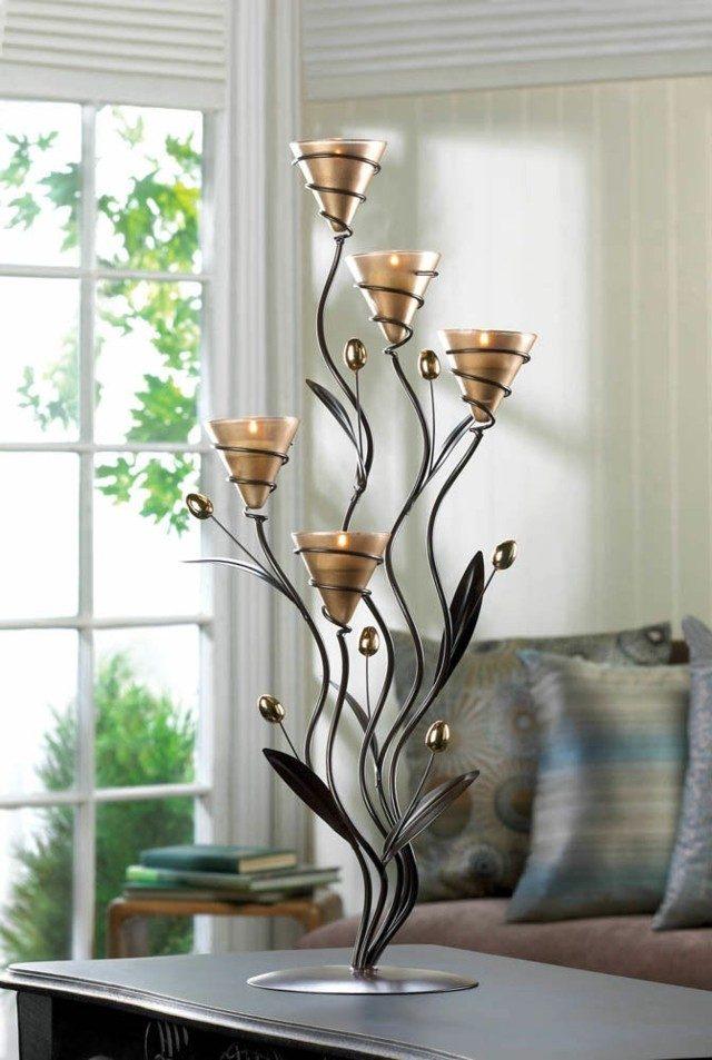 centro mesa lampara flores metal