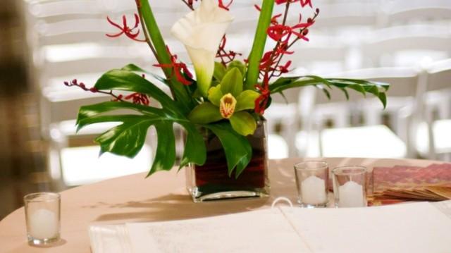 centro mesa orquidea bonita blanca