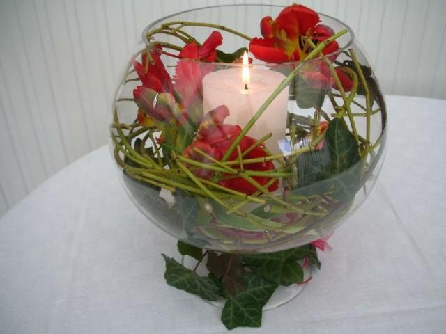centro mesa rosa manualidad vela