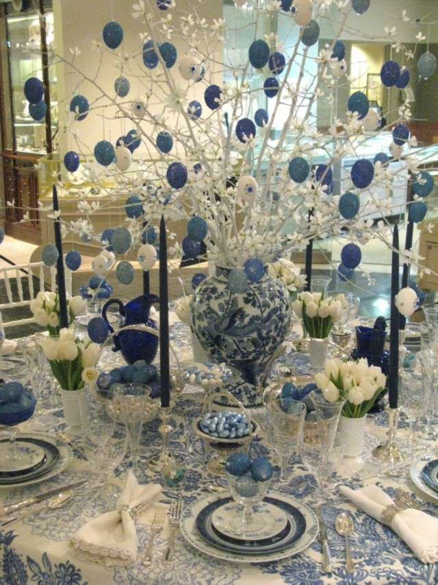 centros de mesa original azul blanco