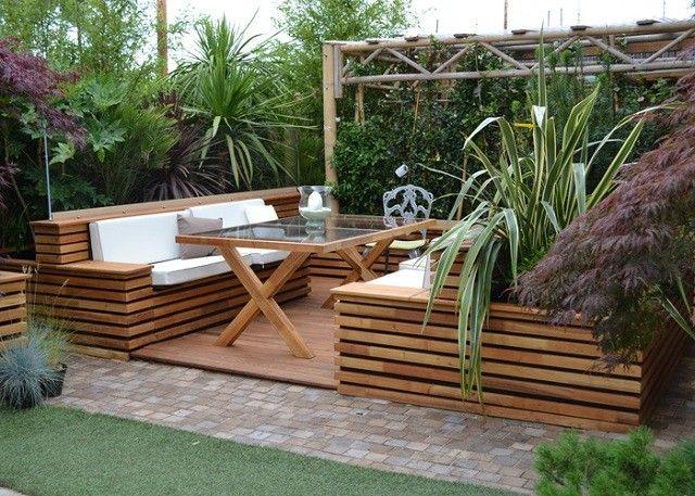 cesped moderno plantas madera mesa jardin