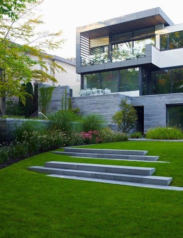 cesped terraza flores diseño moderno