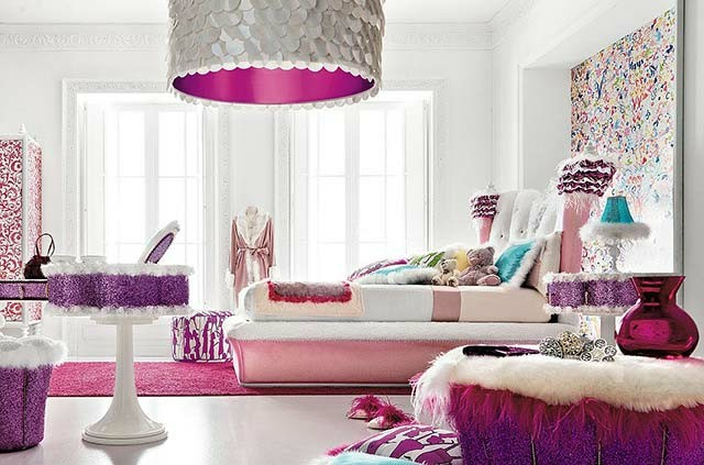 chica dormitorio cogines moderno lampara