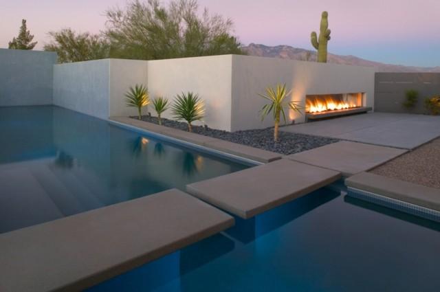 Chimeneas junto a la piscina perm tase un capricho for Piscinas minimalistas