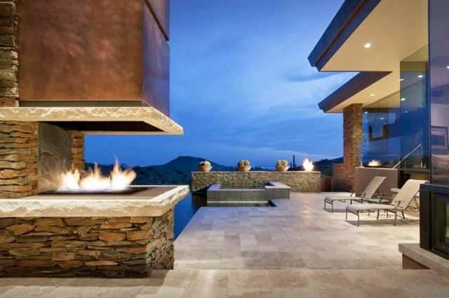 chimenea patio jardin moderna piedras