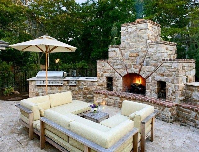 chimenea piedra lugar pefecto aire libre muebles almohadas