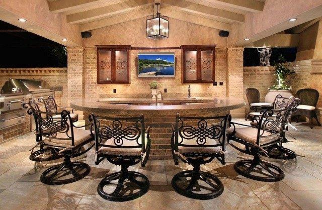 cocina bar exterior construccion lujosa