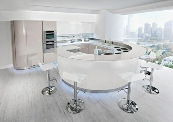 cocina blanca barra americana redonda