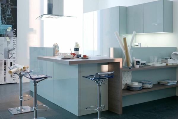 cocina celeste moderna taburetes altos