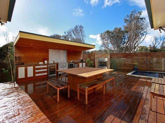 cocina comedor exterior madera plataforma