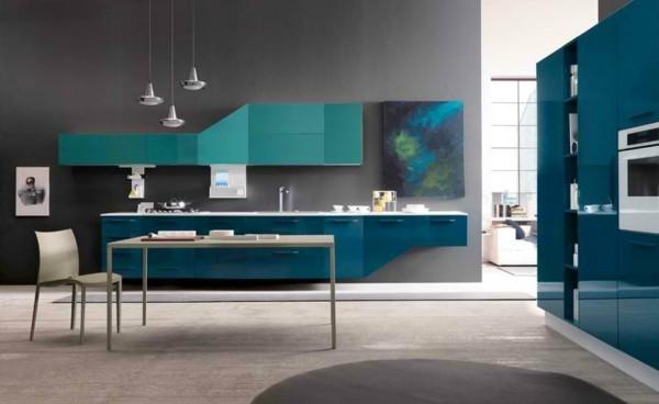cocina decoración azul turquesa
