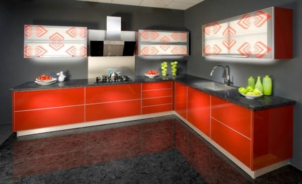 cocina decoracion naranja marmol