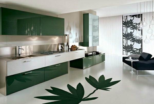 cocina diseño hojas verdes suelo