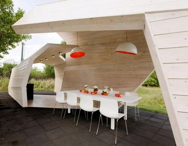 cocina exterior contemporanea moderna blanca