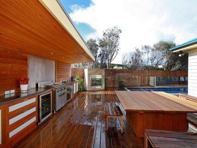 cocina exterior madera estupenda tablas