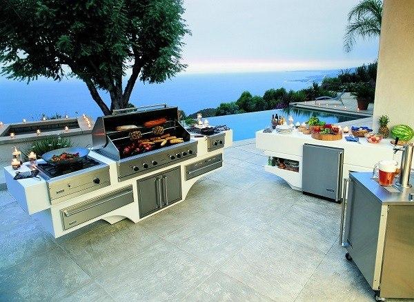 cocina exterior piscina plantas moderna