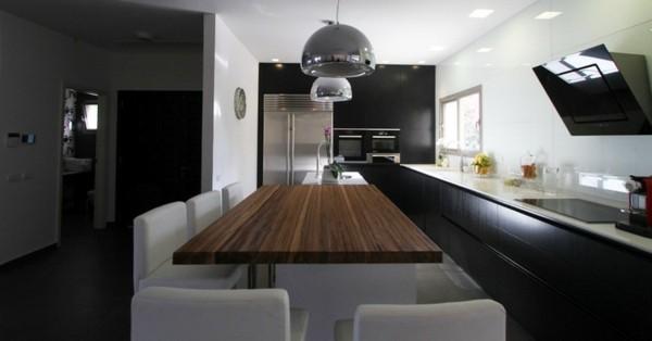 cocina futurista lineas rectas mesa