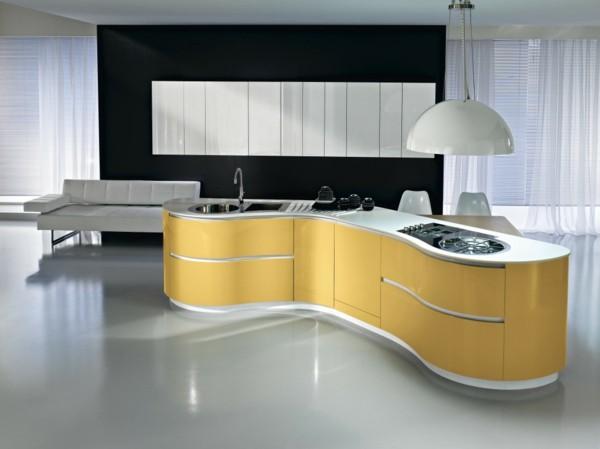 cocina isla amarilla moderna redonda
