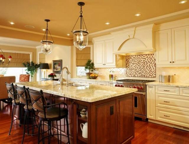 cocina isla estilo marmol encimera luminosa