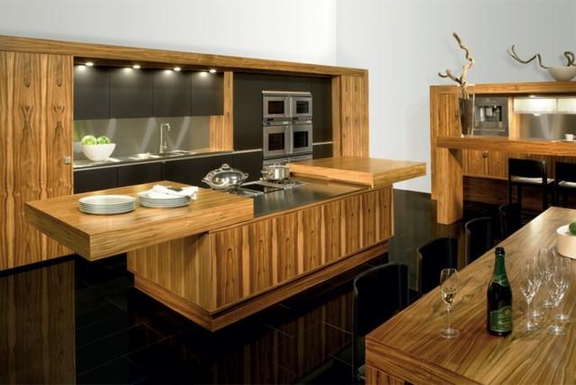 cocina isla interesante encimera madera larga