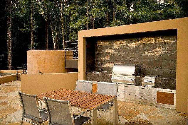 cocina jardin estupenda lujosa rectangular