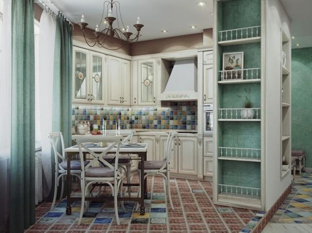 cocina mesa comer azulejos suelo pared coloridos moderno interesante