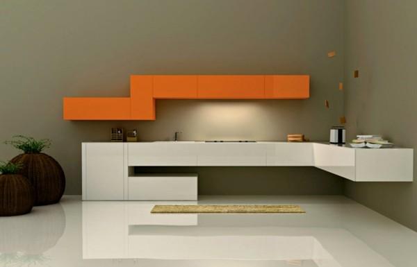 cocina minimalista naranja blanco moderna