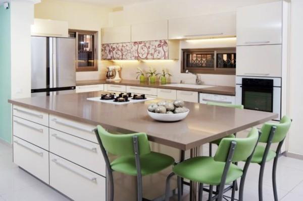 cocina moderna sillas verdes tres