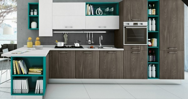cocina moderna madera turquesa
