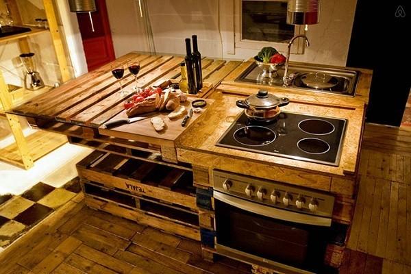 cocina muebles palet madera isla - Mobiliario Con Palets