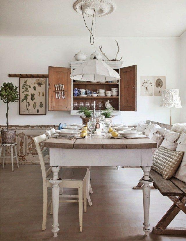 cocina muebles restaurados retro blanco madera banco