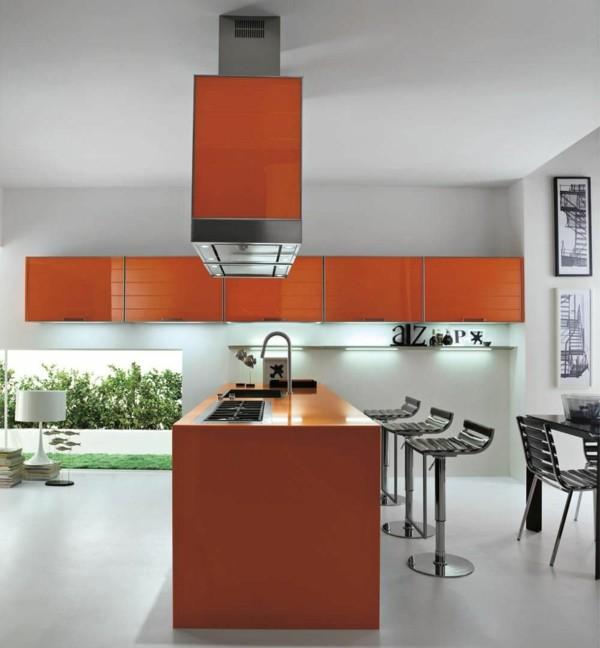cocina naranja minimalista moderna isla