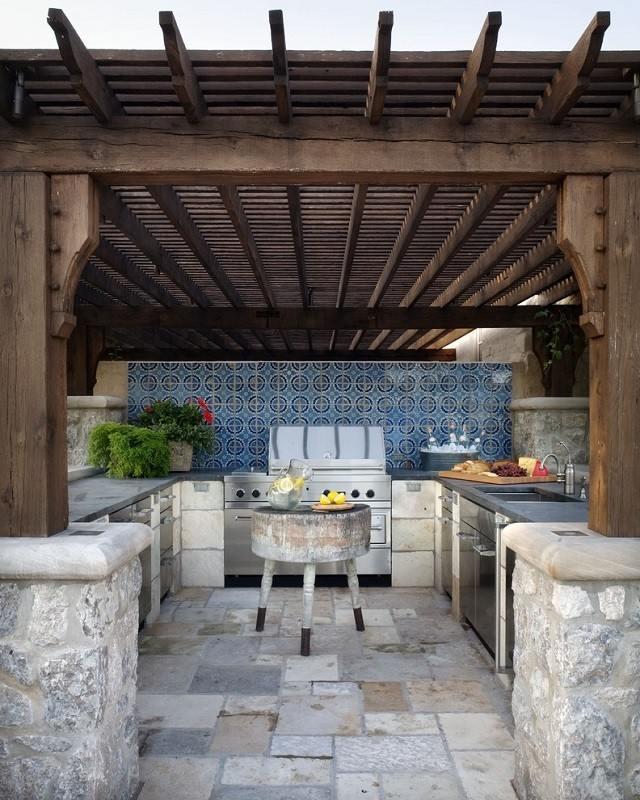 cocina patio exterior piedras tejado