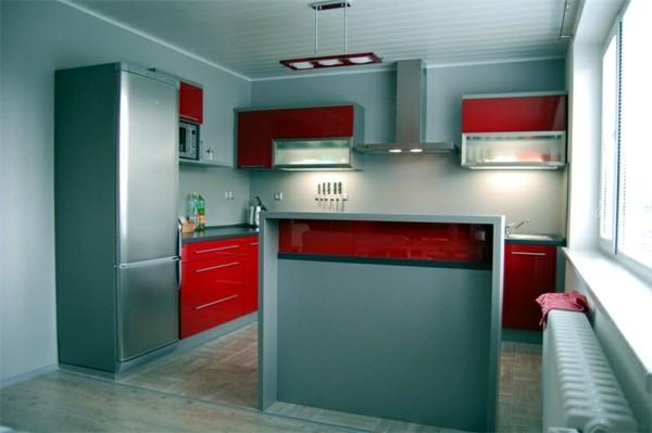 cocina pequeña roja celeste moderna